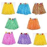 HLJgift Kid's Flowered Luau Hula Skirts Pack Of 8 (Assorted Colors)