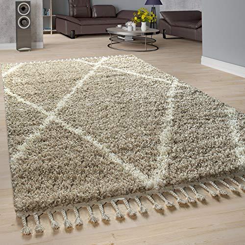 Paco Home Shaggy Teppich Wohnzimmer Hochflor Rauten Muster Skandi Design, Grösse:140x200 cm, Farbe:Beige-Creme