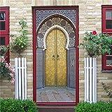 DFKJ 3D Puerta de Hierro Oxidado Acogedor Reflejo Puerta Pegatina decoración del hogar calcomanías Decorativas para Sala de Estar Dormitorio A20 77x200cm