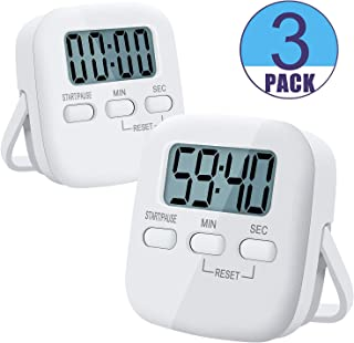 Digital Kitchen Timer, Magnetic Backing & Standing & Hanging for Placement, 3 Pack Kitchen Clock Set for Cooking Baking Sports Games Office Facial, Big Digits Loud Alarm Minute Second Countdown White