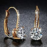 Beiver Yellow Gold Color Clear Brilliant AAA Zircon Jewelry Fashion Clip Earrings for Women Engagement Jewelry Ladies Gifts