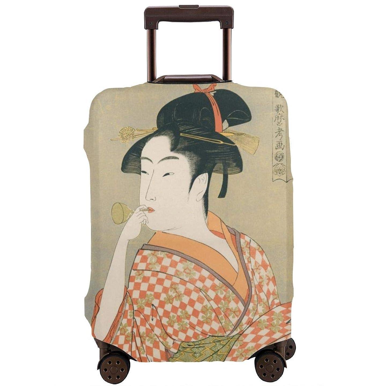 弾力性のあるミュート送料スーツケースカバー 伸縮素材 ビードロを吹く娘 トランク カバー 汚れ防止 キズ保護 防塵 海外旅行 出張に適用 洗える キャリーカバー