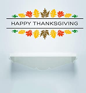 Design with Vinyl RAD V 367 2 Happy Thanksgiving Day Holiday Sign Fall Leaves Home Decor Living Room Picture Art Decal, 16
