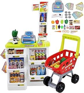 deAO Kinderen Rollenspel 48 Delig Supermarkt Set Superstore Winkel Speelgoed Kinderen Supermarkt met licht, geluid, werken...