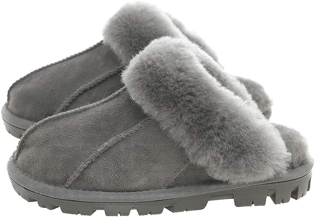Los Angeles Mall Kathyland Unisex Sheepskin Daily bargain sale Wool Fur Slippers han Leather Women's
