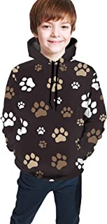 Cyloten Kid's Sweatshirt Dog Paw Novelty Hoodies Comfortable Warm Hooded Top Sweatshirt