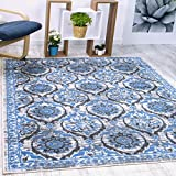 Antep Rugs Casa Azul Collection Geometric Floral Non-Skid (Non-Slip) Low Profile Pile Rubber Backing Indoor Area Rug (Blue/Grey, 8'2' x 9'10')