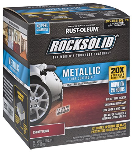 Rust-Oleum 286896 Rocksolid Metallic Garage Floor Coating Kit, Cherry Bomb