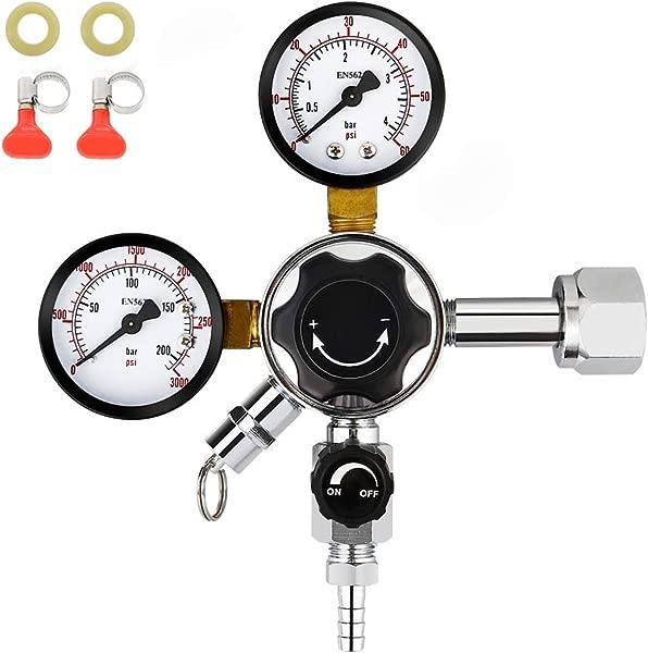 FERRODAY Dual Gauge CO2 Draft Beer Regulator Dual Stage Pressure Regulator CGA 320 CO2 Tank Beer Kegerator Regulator With Relief Valve Beer Keg Pressure Regulator For Homebrew 0 60 PSI 0 3000PSI