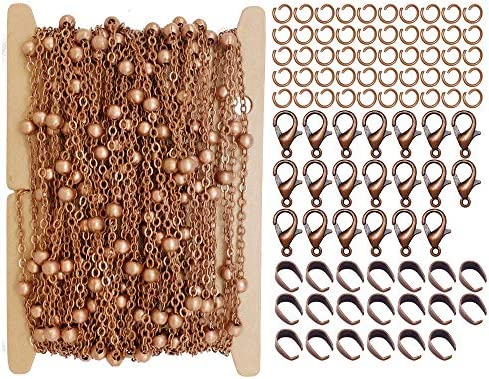 ZCNest 32 8 Ft 10m Copper Satellite Chains with Beads for Jewelry Making Set with Lobster Clasps product image