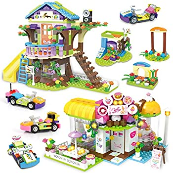 Tree House Friends Building Block Treehouse Coffe Shop Creative Building Toy Set for Kids Include Public Toilets and Wave Machine Roleplay Xmas Gift for Girls Boys Gift with Storage Box 960 Pieces