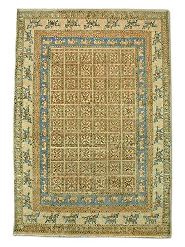 Pak Persian Rugs Handgeknüpfter Pazyryk Teppich, Beige, Wolle, Medium, 202 X 290 cm
