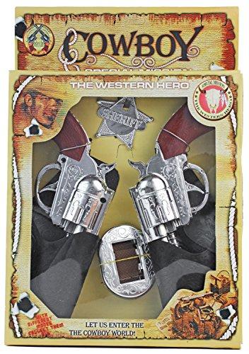 Nerd Clear Cowboy-Kostüm XXL Set Western Halfter mit 2 Revolvern + Gürtel + Sherif-Stern + Holster Cowboy-Gürtel Spielzeug-Pistolen Kinder-Verkleidung