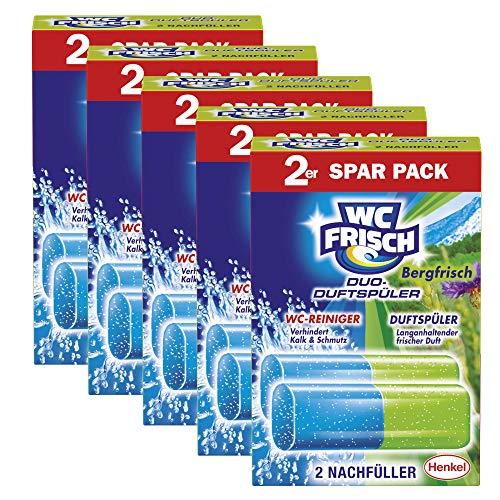 WC FRISCH Duo-Duftspüler Bergfrisch, WC-Reiniger und WC-Duftstein, Nachfüllpack, 5er Pack (5 x 2 Stück)