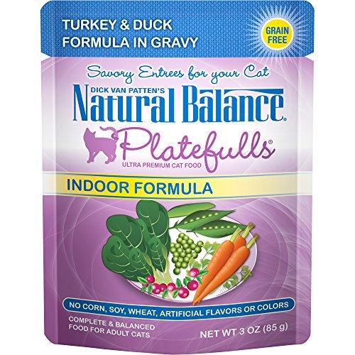 Natural Balance Platefulls Indoor Wet Cat Food, Turkey & Duck Formula in Gravy, 3 Ounce Pouch (Pack of 24), Grain Free