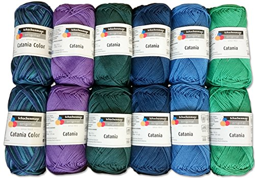 Schachenmayr 10x Catania und 2X Catania Color Set Pfau Color 12x50 Gr, 100% Baumwolle