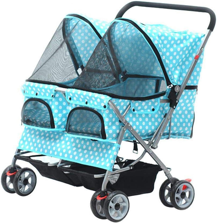 Axiba Pet Stroller Large twoseater pet car, small mediumsized cat dog car
