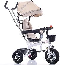 NAUY @ Triciclo ligero para niños 1-3-6 años Carruaje para bebés Niños y niñas Bicicletas Cochecito para bebés con gorra de Putter Sillas de paseo