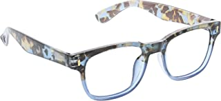 Peepers by PeeperSpecs Women's Relic Square Light Filtering Reading Glasses, Blue Quartz, 49.9 mm + 3