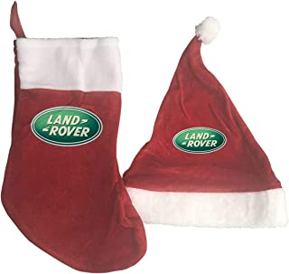 YGTRH Land Rover Car Logo Christmas Stockings and Santa Hat Gift/Treat Bags Xmas Party Mantel Decorations Ornaments Red