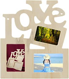 Xufloren Conjoined Letter Frame 3 in 1 White Hollow Love Wooden Family Picture Photo Frame DIY Art Decor Frame