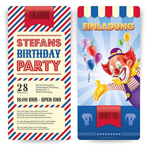 Einladungskarten zum Geburtstag (10 Stück) als Zirkus Ticket Eintrittskarte Clown Jahrmarkt