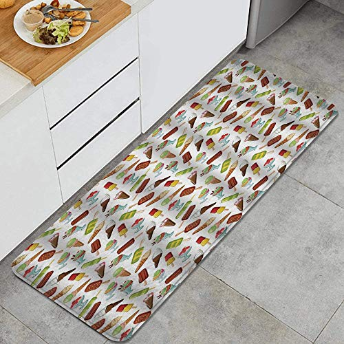 SURERUIM Kitchen rug,Ice Cream Frozen Desserts in Wafer Cone Glazed Eskimo with Whipped Cream Chocolate Sundae Multicolor,Decorative Kitchen floor Mat with Non-Slip Backing,47'x17'