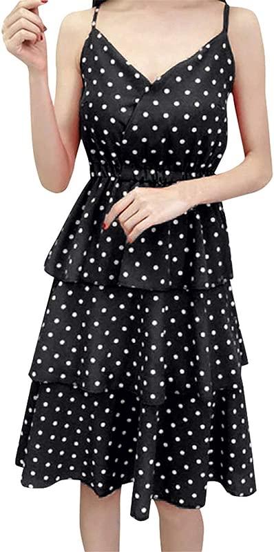 Loosebee Women S Dot Print V Neck Sling Sleeveless Bohemian Spaghetti With A Line Midi Dress