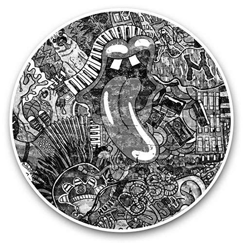 Impresionantes pegatinas de vinilo (juego de 2) 20 cm (bw) – Música Graffiti Wall 80's Retro Vintage Divertidos calcomanías para portátiles, tabletas, equipaje, reserva de chatarras, neveras, regalo fresco #42337