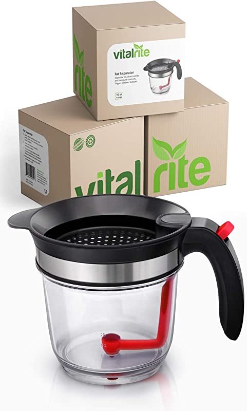 Fat Separator For Gravy Professional Grade Grease And Oil Strainer Perfect For Gravy Bone Broth Soup Sauce And Ghee Ultimate Kitchen Tool For The Healthy Chef By VITALRITE