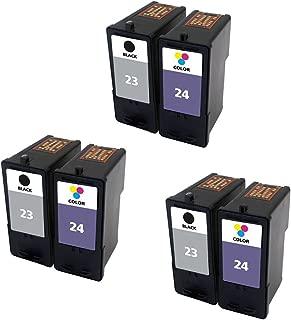 ESTON Combo Set for Lexmark Ink Cartridges 23 24 Black/Color (6Pack) Fit for Lexmark Printer X3430 X3530 X4530 X4550