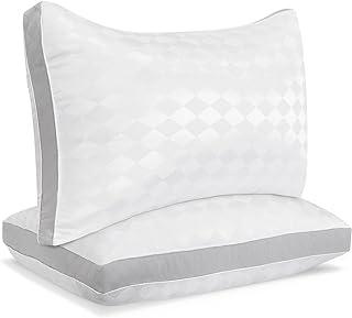 Beckham Hotel Collection Gusset Gel Pillow (2-Pack) - Diamond Embossed Luxury Gel Pillow - Hypoallergenic & Dust Mite Resistant -�Queen