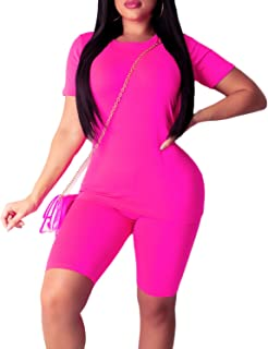 Women's Casual 2 Piece Outfits Solid Long Sleeve T-Shirts Top Bodycon Shorts Set Sports Yoga Suit Tracksuit Jumpsuits