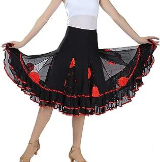 Bokze Women Latin Dance Skirt Ballroom Waltz Tango Modern Dance Skirt Practice Costume Blue
