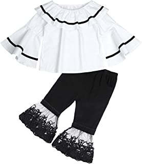 Girl Fall Clothes Floral Ruffle Tops Shredded Jeans Pants Sets Little Girls Winter Outfits