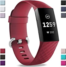Hamile Bands Compatible with Fitbit Charge 3, Waterproof Replacement Watch Strap Fitness Sport Band Wristband for Fitbit Charge 3 & Charge 3 SE, Women Men, Large Small