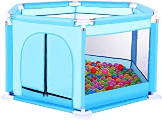 CXHMYC Activity park for children Playpen Playpen Baby Mesh Breathable Easy install Wear with durable safety barrier panels  126x65cm  Blue