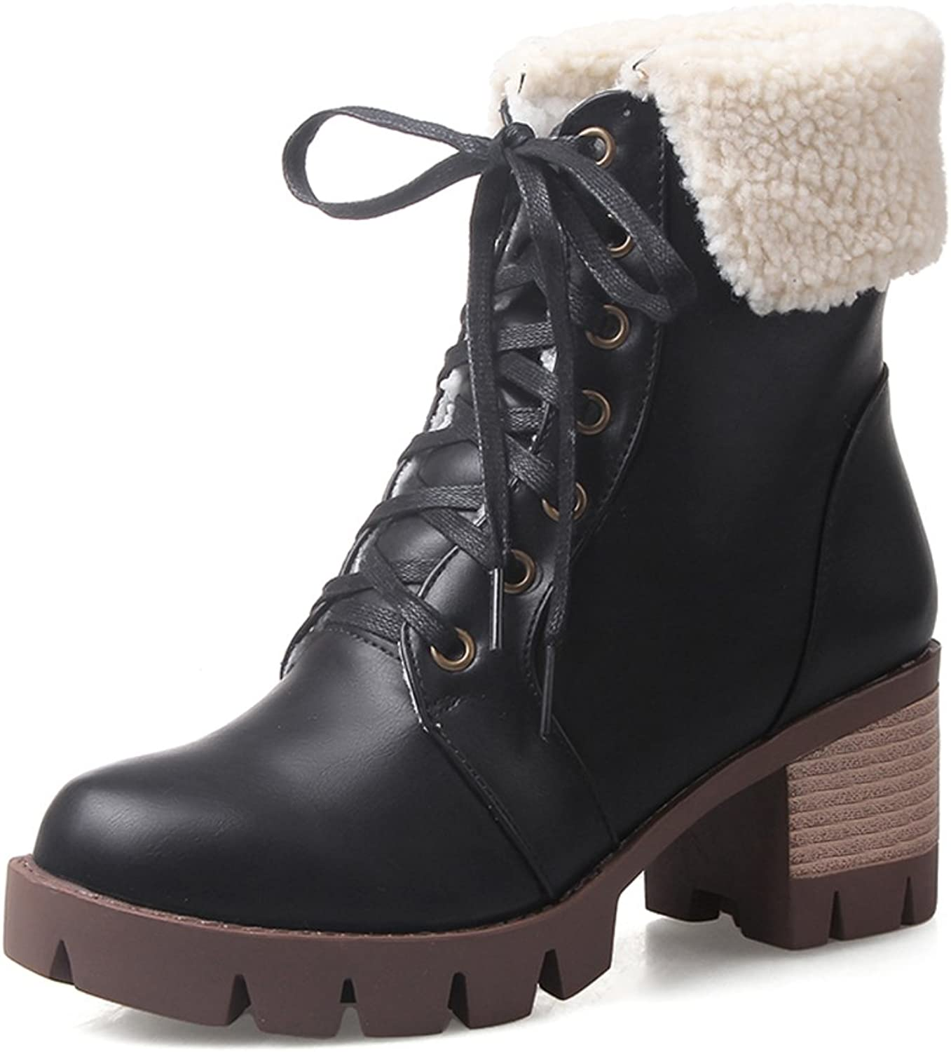 RHFDVGDS Winter fashion Martin boots in autumn and ladies chunky heels high heels short boots Take college students before boot