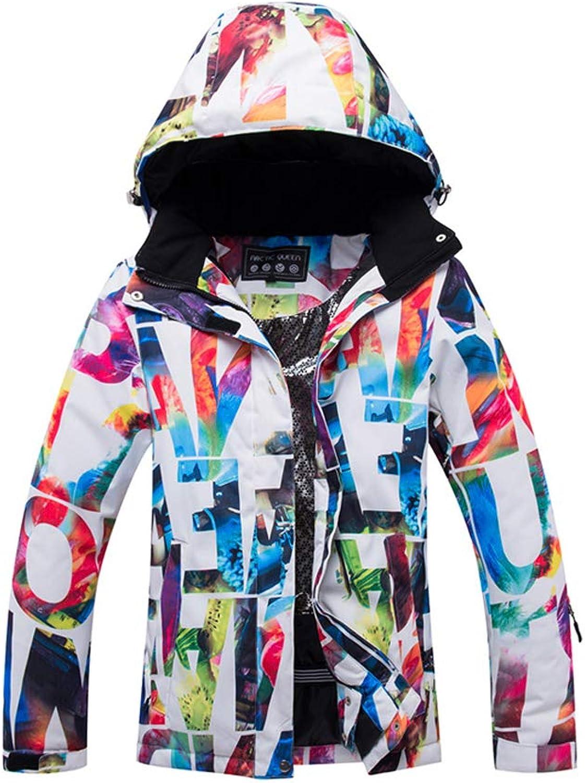 Liyuke Women's Ski Jackets Waterproof Winter Coats Outdoor Skisuit colorful Printed Snowsuit