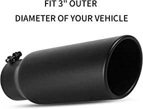 3 Inlet Exhaust Tip, OsoTorero Universal Replacement Exhaust Tips for Truck Car Bolt On Tailpipes 3 Inch Inlet 4