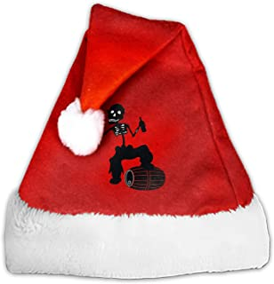 Men's Pirate Christmas Santa Hat Economical Traditional Red&White Xmas Santa Claus' Cap for Holiday Party