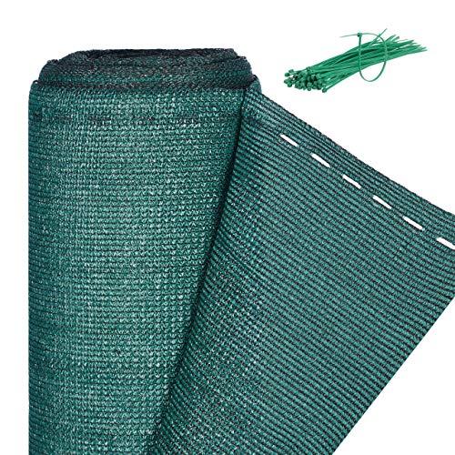 Relaxdays Zaunblende, Sichtschutz für Gartenzaun & Balkongeländer, HDPE Gewebe, UV-stabilisiert, wetterfest, 1x50m, grün