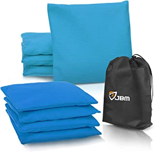 JBM Cornhole Bean Bags (Set of 8) Weather Resistant Duck Canvas Cornhole Bag with Free Portable Drawstring Bag for Tossing Corn Hole Game - Regulation Size & Weight