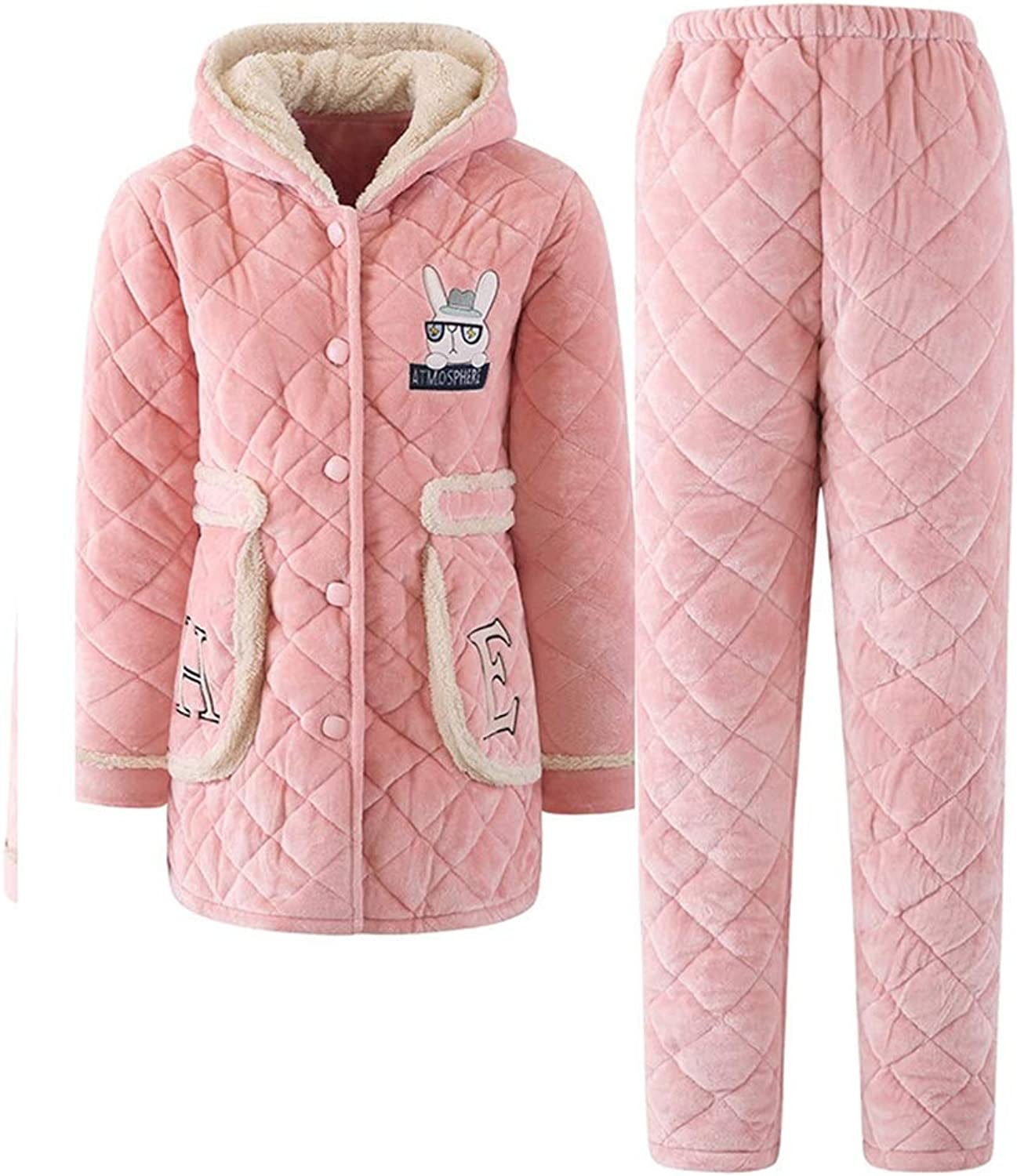 LeeQn Winter Ladies Flannel Padded Quilted Pajamas Hooded Warm Suit Nightclothes
