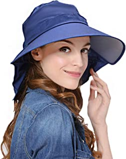 Lujuny Bill Flap Ponytail Sun Hat - UV Protection Wide Brim Cap with Neck Cover for Women Girls