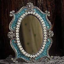 Retro Court Desktop Metal klassieke decoratieve spiegel draagbare make-upspiegel (Color : Blue)