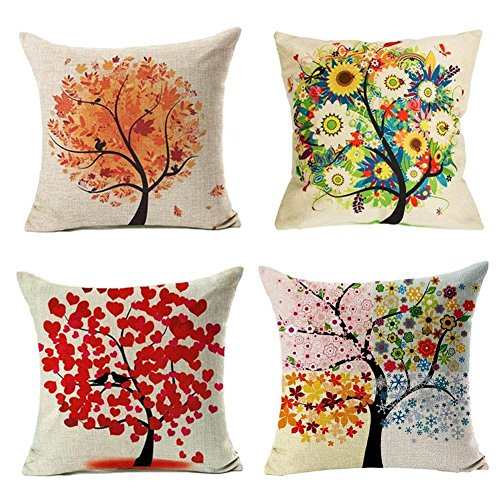 Freeas Cushion Cover, Set of 4 Four Season Tree Pillowcase Square House Sofa Pillow Cover 45 x 45 cm