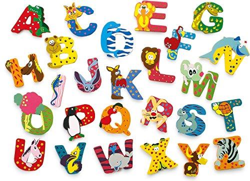 JINTORA - Carta de Madera - A - para niños y bebés: Motivo de los Animales para la guardería, la Escuela, la guardería, para Jugar, hazlo tú Mismo y coleccionables