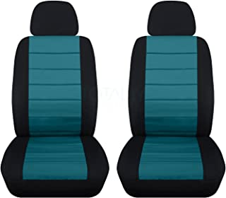 best service 2dc51 6d301 2-Tone Car Seat Covers w 2 Separate Headrest Covers  Black and Teal -