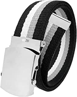 All Sizes Men's Golf Belt in 1.5 Silver Slider Belt Buckle with Adjustable Canvas Web Belt